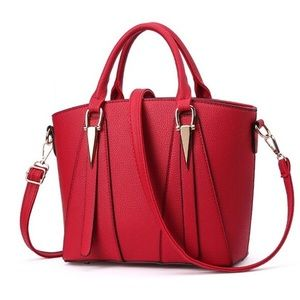 Handbags - Red vegan leather handbag with shoulder strap